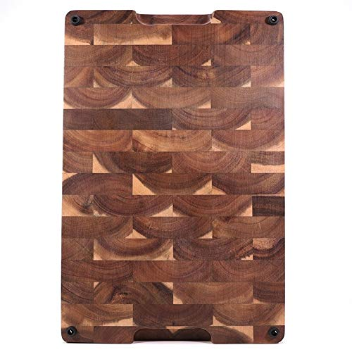 Large Multipurpose Thick Acacia Wood Cutting Board with Juice Groove, End-grain Chopping Board for Kitchen (Color : 450x350x35mm)