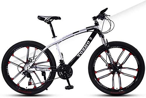 Vélos de montagne 24 pouces à vitesse variable d'absorption de choc hors route à double Freins à disque haute teneur en carbone cadre en acier de haute dureté Jeune adulte Hommes Femmes Cyclisme Convi