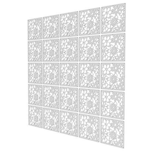 Paneles Separadores Espacios de 25 Piezas - 147x147cm - Blanco Separador De Ambientes Salon Patrón De Flor Hueca Panel Divisor para En Casa para Cocina, Oficina, Despensa, Baño