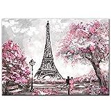 OCRTN Street View of Paris Pinturas en Lienzo en la Pared Carteles e Impresiones Paris Tower Wall Art Canvas Prints para Sala de Estar 50x70cm Sin Marco