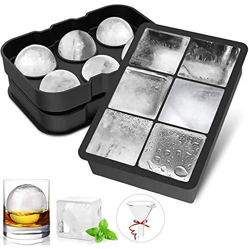 FYLINA Eiswürfelform 45mm Eiskugelform 48mm 6-Fach Eiswürfelbehälter Silikon Eiswürfelformen Eiswürfelform Würfel Eiswürfel Form BPA Frei für Whisky, Cocktails, Saft, Schokolade, Süßigkeiten