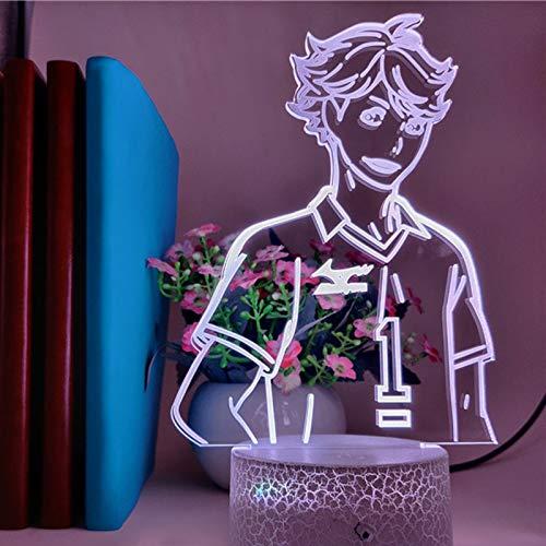 Lámpara de noche LED 3D de anime, lámpara de mesa para decoración del hogar, con mando a distancia, 16 cambios de color, 7 colores sin mando a distancia