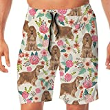 Cocker Spaniel Florals Crema de Perro de Raza Fabric_423 Hombres Troncos de natación Surf Beach Holiday Party Swim Shorts Pantalones de Playa M