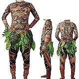 Herren Junge Kostüm Maui Tattoo Set Top T-Shirt Blättern Hosen Vater und Kinder Cosplay Kostüm...