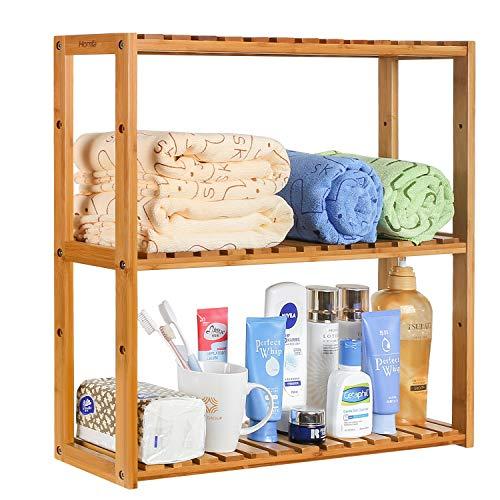 HOMFA Bamboo Bathroom Shelf 3-Tier Multifunctional Adjustable Layer Rack Wall Mounted Utility Storage Organizer Towel Shelves Kitchen Living Room Holder Natural Color