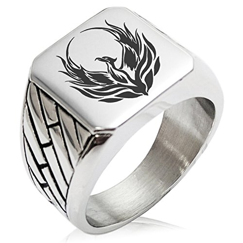 Two-Tone Stainless Steel Greek Mythology Phoenix Engraved Geometric Pattern Biker Style Polished Ring, Size 13