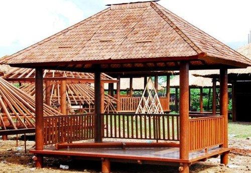 Rechteckiger Kokosholz Gartenpavillon mit Geländer + Treppe / / Variante: Größe u Dacheindeckung: 2x3 mit Reisstrohdach