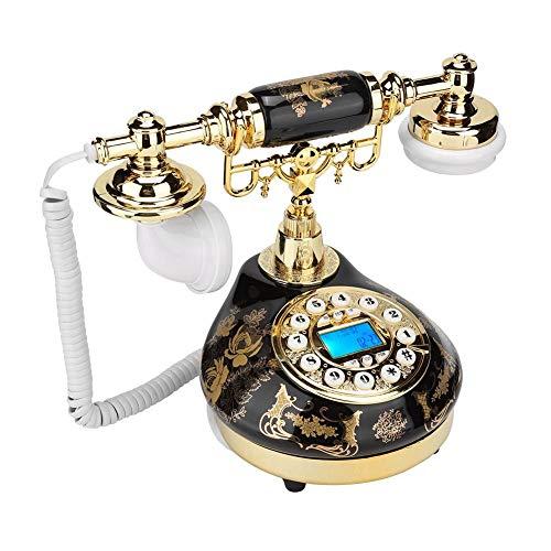 Sutinna Teléfono Antiguo, Teléfono Fijo Retro Europeo Clásico Teléfono Vintage con Cable y Estampado de Flores de Cerámica Negra y Dorada Decoración del Hogar Teléfono de Escritorio