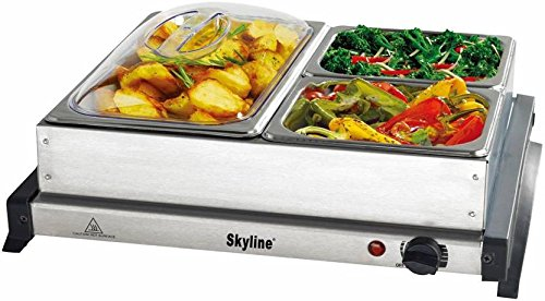 SKY LINE Buffet Server VTL- 9666, 200W 2 * 1.5Ltr. Stainless Steel Design