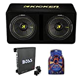 KICKER 44DCWC122 12' 1200W 2 Ohm Complete Subwoofer Bass Package with Loaded Sub Enclosure, Boss 1100W Monoblock A/B Amplifier, and 4 Gauge Wiring Kit