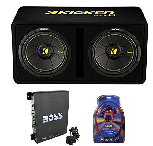 """KICKER 44DCWC122 12"""" 1200W 2 Ohm Complete Subwoofer Bass Package with Loaded Sub Enclosure, Boss 1100W Monoblock A/B Amplifier, and 4 Gauge Wiring Kit"""