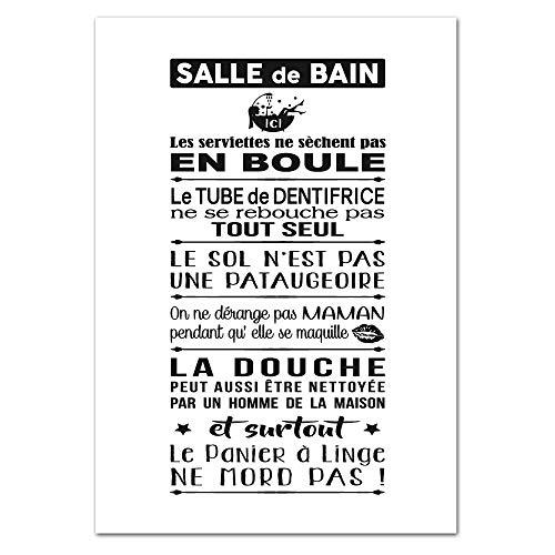 Poster Papier Les Règles De La Salle De Bains Version Noir et Blanc - Dimensions 21 x 30 cm - Papier Brillant Non Adhésif