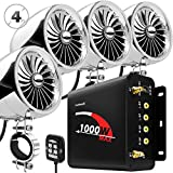 GoHawk TJ4-Q 1000W 4 Channel Amplifier 4' Full Range Waterproof Bluetooth Motorcycle Stereo Speakers Audio System AUX USB SD Radio for 1-1.5' Handlebar Harley Touring Cruiser ATV
