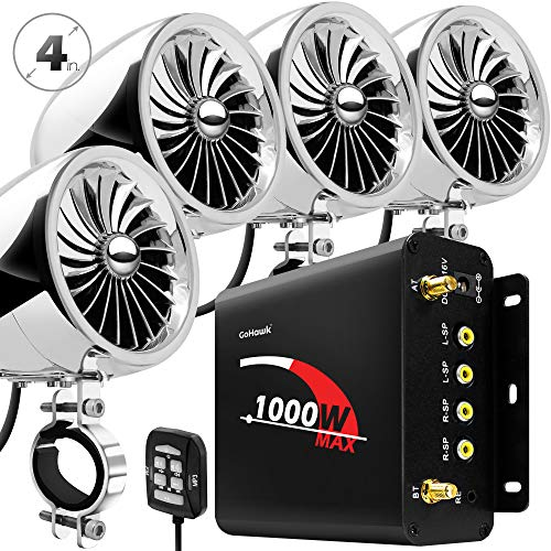 "GoHawk TJ4-Q 1000W 4 Channel Amplifier 4"" Full Range Waterproof Bluetooth Motorcycle Stereo Speakers Audio System AUX USB SD Radio for 1-1.5"" Handlebar Harley Touring Cruiser ATV"
