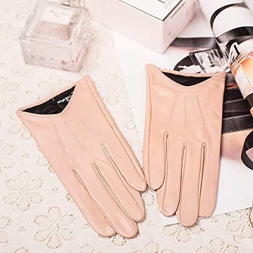 MHYNLMW Dünne weibliche Herbst und Winter Handschuhe warme Handschuhe Motorrad Fahren Mode kurzen Lederreithandschuhe (Size : XS)
