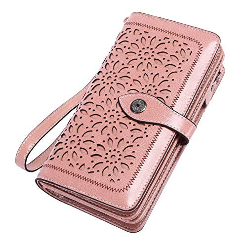 Vintage Geldbörse Damen Leder Gross, RFID Schutz Damen Portemonnaie Groß Viele Fächer, Geldbeutel Damen Gross mit 26 Kartenfächer mit Handyfach (Rosa)