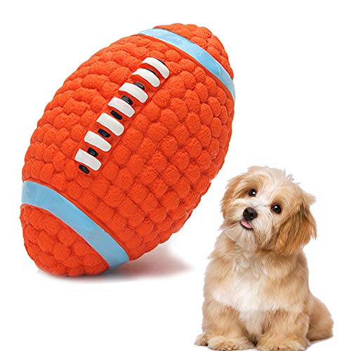 YUIP Juguetes para Perro con Sonido, Squeak látex Juguetes para Perro Pequeño Perro Rugby Juego Interactivo, Entrenamiento y Ejercicio en Exteriores Juguetes Masticar de Perros