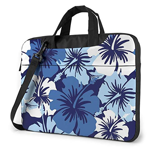 Laptop Shoulder Bag - Blue Hibiscus Printed Shockproof Waterproof Laptop Shoulder Backpack Bag Briefcase 13 Inch