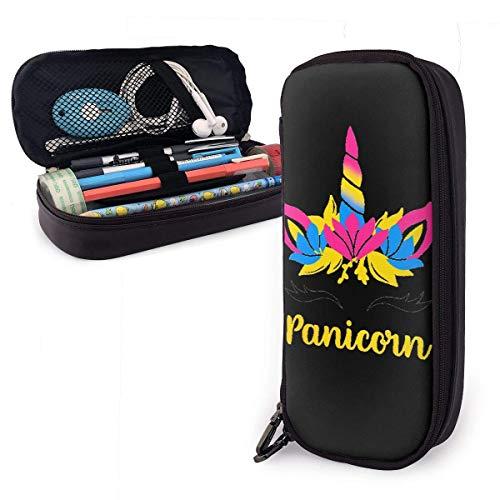Estuche para lápices Pansexual Pan Pride Flag Unicorn Horn Eyelash Panicorn School Lápiz Estuche para lápices Funda de oficina Bolígrafo Caja de cremallera Bolsa de cuero Pu para niñas Accesorios