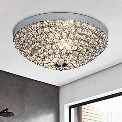 """SOTTAE Elegant 2 Lights Crystal Cental Shade Chrome Finish Bedroom Living Room Hallway Kids Room Modern Crystal Chandelier Ceiling Light, Ceiling Chandelier Size 11.8""""(14# Size Bead)"""