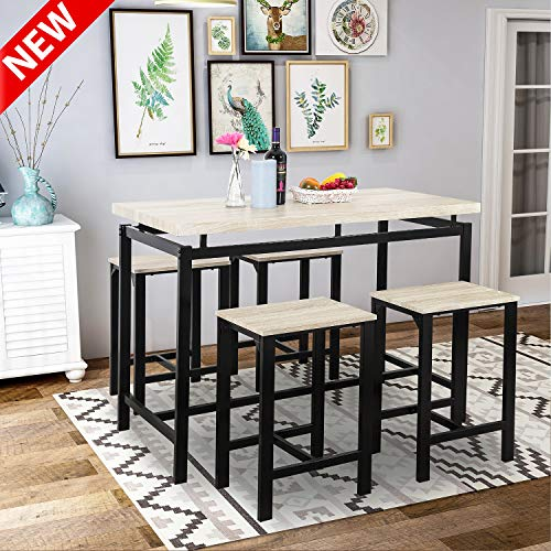 Dining Table Set, LEEKOUS Best 5 Piece Counter Pub Height Table Set, Dinning Room Table Set for 4, Kitchen Table with 4 Chairs, Perfect for Breakfast Nook, Kitchen Room, Mini Bar or Patio (Beige)