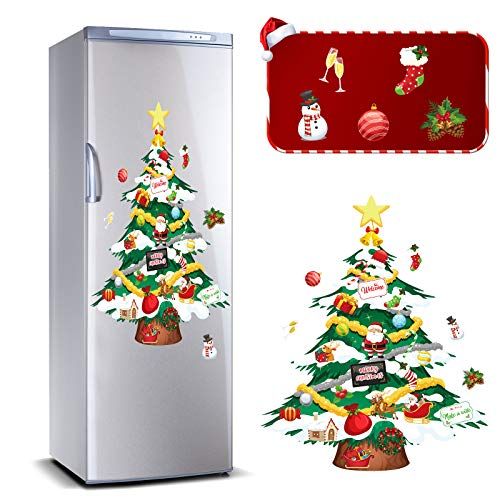 Outus 9 Pieces Tree Snowman Magnets Set Xmas Tree Magnets Set Magnetic Christmas Tree Stickers Christmas Refrigerator Magnets Decoration for Holiday Christmas Refrigerator Metal Door Decoration