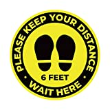 10 Pack 11' Social Distancing Floor Signs, Keep 6 Feet Distance Label, Please Wait Here Stand Here Sticker, 6ft Vinyl PVC Public Decal, Yellow Floor Reminder Marker for Crowd Control Guidance