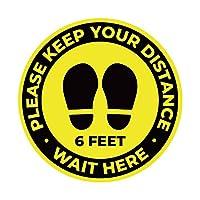 10パック 11インチ Social Distancing Floor Sign Keep 6 Feet Distance Label Please Wait Here Stand Here ステッカー 6フィート ビニール ポリ塩化ビニル 公共デカール イエローフロアリマインダーマーカー 群衆管理ガイダンス用