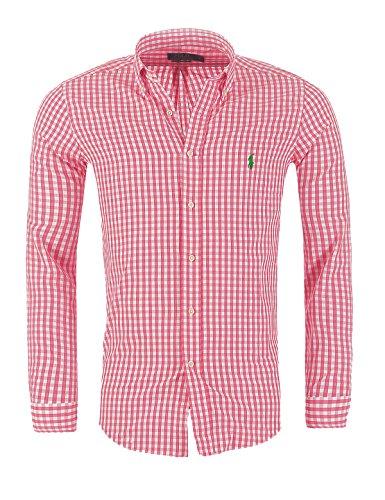 Ralph Lauren Herren Hemd kariert Slim Fit S-M-L-XL-XXL Outlet, Größe:L, Mehrfarben:Pink/Weiß