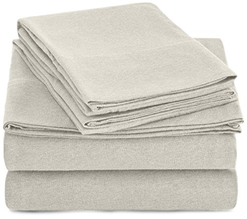 AmazonBasics Heather Cotton Jersey Bed Sheet...