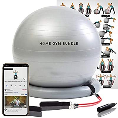 Home Gym Bundle Exercise Ball with Attachable 15lb Resistance Bands and Removable Stability Base - Full Body Fitness Workout Equipment Fitball - Portable 65CM Yoga Ball Chair for Strength Training