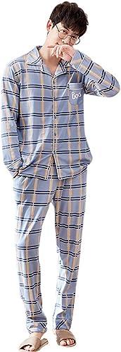 Pyjama Chemise de Nuit à Manches Longues pour Hommes Applicable pour Le Cadeau de Chemise de Nuit de Grande Taille à voiturereaux de Couleur imprimée de Grande Taille Ensembles de