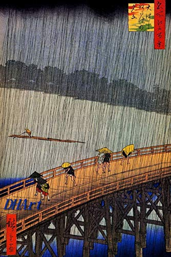 DHArt 1000 Piece Puzzles For Adults Utagawa Hiroshige Sudden Shower Over Shin Hashi Bridge and Atake Puzzle Game Wooden Puzzles for Teens Kids and Adults