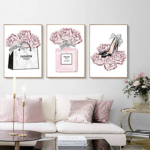 Preisvergleich Produktbild Tougmoo Mode Paris Wandkunst Pink Rose Parfüm Poster Lady High Heels Druckbilder Makeup Art Wandbilder für Wohnzimmer Dekor 50 * 70cm * 3