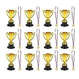 TOYANDONA 24 Unidades de Trofeos de Premios Infantiles Mini Trofeos de Juguete Medallas de Plástico de Oro Trofeo de Niños Y Medallas de Oro Trofeo...