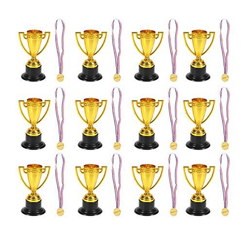 TOYANDONA 24 Unidades de Trofeos de Premios Infantiles Mini Trofeos de Juguete Medallas de Plástico de Oro Trofeo de Niños Y Medallas de Oro Trofeo de Copa de Trofeo de Juguete para Fiesta