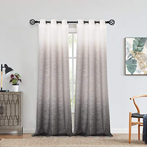 "Central Park Ombre Window Curtain Panel Linen Gradient Print on Rayon Blend Fabric Drapery Treatments for Living Room/Bedroom, Cream White to Gray, 40"" x 84"", Set of 2"