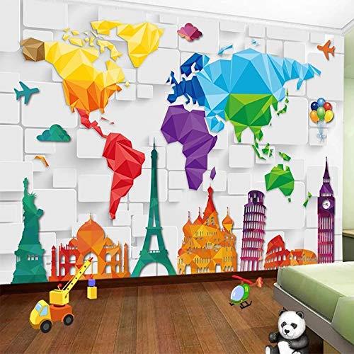 Fotomurales Mapa del mundo, paisaje famoso Decoraciones Fondo Del Sofá De La Sala De Estar 400x280cm