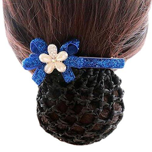 Ladies Bowtie Mesh Elastique Bun Couverture Hairnets Hair Snood, Fleur d'argent bleu marine, Rough Mesh