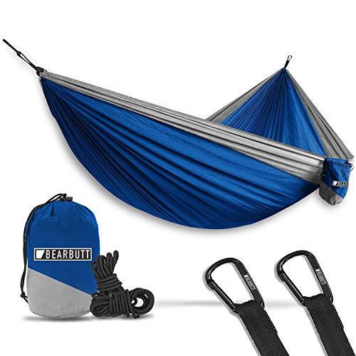 Bear Butt Double Parachute Camping Hammock, Blue / Gray