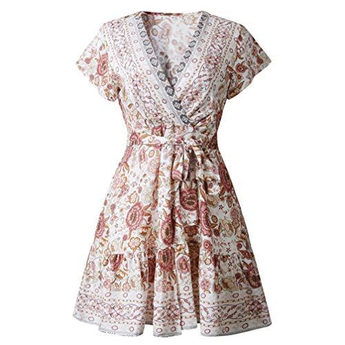 Tendycoco vestido feminino boêmio com decote em V, floral, mini vestido com babados na cintura, vestido de festa na praia (roxo) - Tamanho P, Branco, M