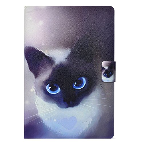 KITFINEEU Funda para iPad Mini,Mini 2, Mini 3 & Mini 4, Magnetic Auto Wake/Sleep Function, Patrón de Dibujos Animados Lindo, Ojos Azules Gato