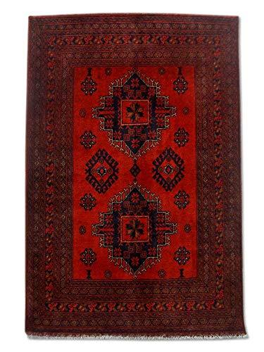 Pak Persian Rugs Alfombra tradicional afgana Khal Mohammadi hecha a mano, lana, burdeos/rojo, pequeño, 103 x 151 cm, 3 pies 5 pulgadas x 4 pies 11 pulgadas (pies)
