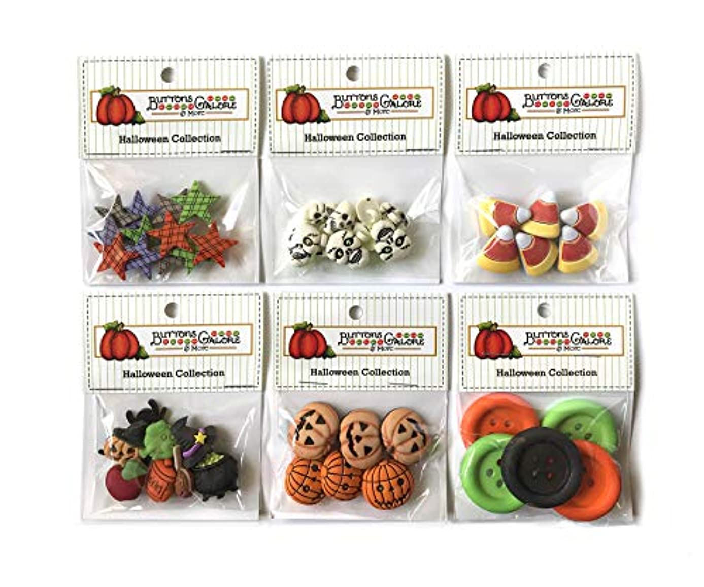 Buttons Galore 40+ Assorted Halloween Buttons for Sewing & Crafts - Set of 6 Button Packs - Candy Corn, Jack O Lanterns & More
