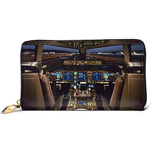 Jacque Dusk Ledergeldbörse Flugzeug Cockpit Brieftaschen Für Männer Frauen Lange Leder Scheckheft Kartenhalter Geldbörse Reißverschluss Schnalle Elegante Kupplung Damen Geldbörse