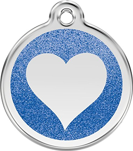 K9 Palace Red Dingo Stainless Steel with Glitter Pet I.D. Tag - Heart (Dark Blue, Medium)