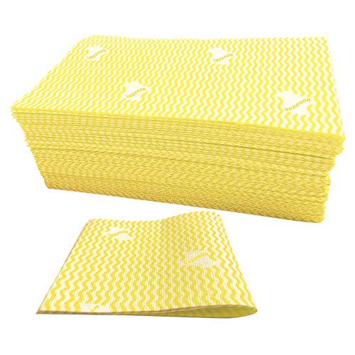 UKEENOR Dish Cloths,Reusable Cleaning Towels for Kitchen,Multi-Use Handi Wipes, Heavy Duty Reuseable Cloths,Machine Washable 60 Count Yellow