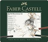 Faber-Castell 112976 - Estuche de metal con 21 piezas, surtido de carbonos, grafitos, ecolápices y tizas