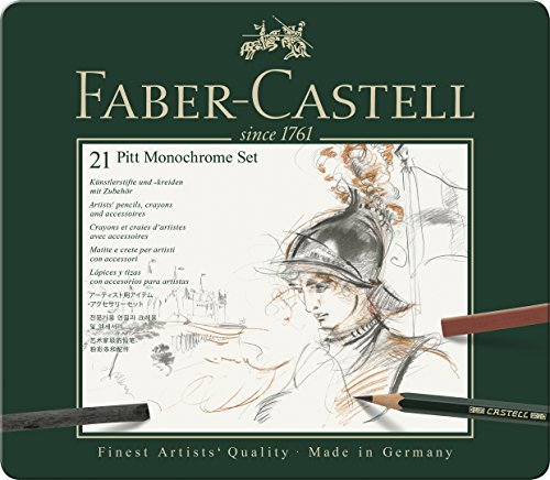 Faber-Castell 112976 - Estuche de metal con 21 piezas, surtido de carbonos, grafitos,...