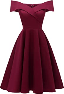 Women's A-line Off The Shoulder Wedding Party Bridesmaid Cocktail Dress Knee Length
